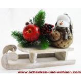 Deko - Holzschlitten braun - weiß gewischt, 24 x 9 x 6 cm