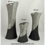 Keramik-Vase Bridgetown 30 cm hoch anthrazit/silber