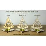 Laserholz-Teelichthalter Tanne mit Motiv Waldtiere 13 x 11 x 7 cm (HxBxT)