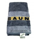 Saunatuch Liegetuch Grau/Anthrazit ca. 80 x 200cm, mit Aufhängeschlaufe