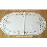 Deckchen 30 x 55 cm oval Plauener Spitze Satin sekt