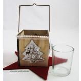Holz-Teelichthalter mit Metallapplikation Baum  ca. 8,5 x 8,5 x 8,5 cm