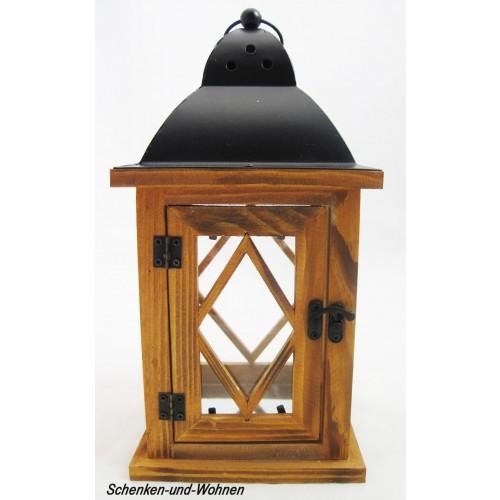 deko laterne holz mit metalldach braun ca 14 x 27 cm schenken und. Black Bedroom Furniture Sets. Home Design Ideas