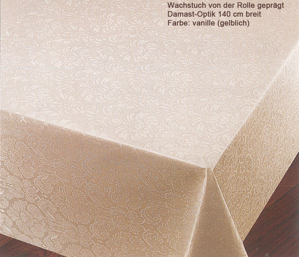 Wachstuch von der Rolle 140 breit Damast-Optik vanille 140 breit