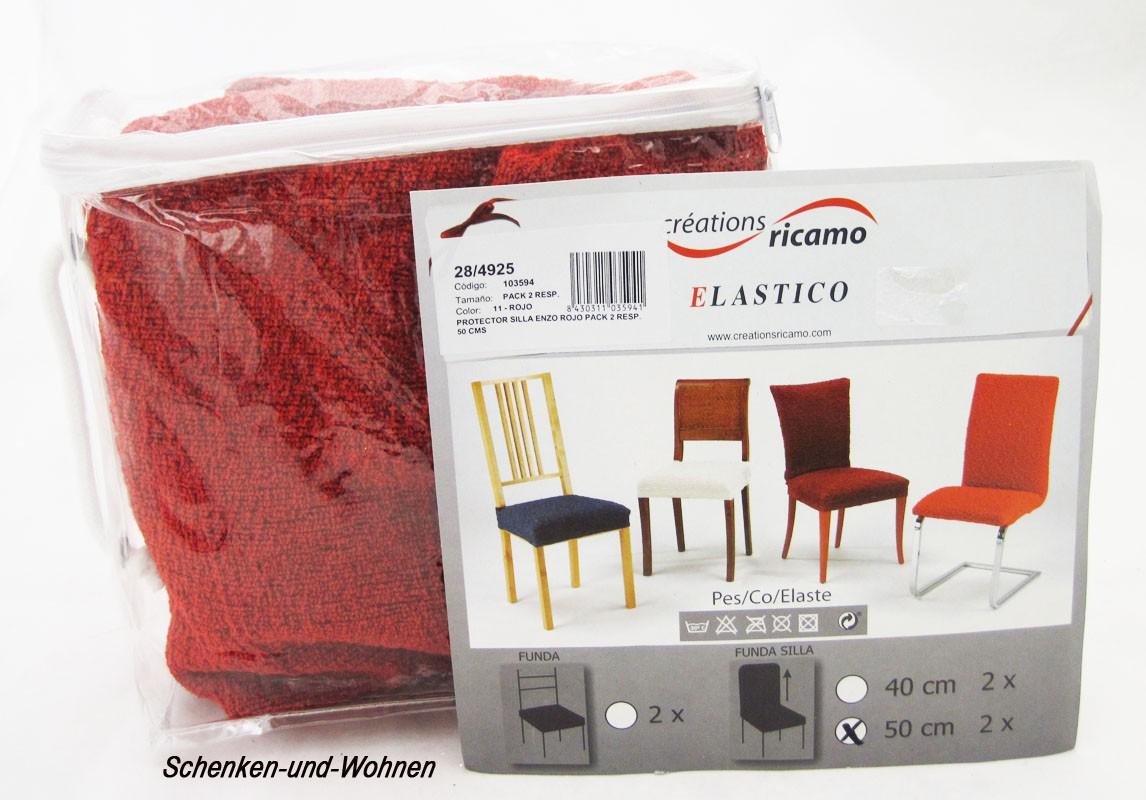 "2er-Set Stuhlbezug ""Elastico"" Rot, ca. 50cm (Höhe der Lehne)"