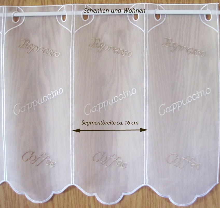 """1 Stück Kurzgardine 16 cm breit - Panneaux  """" Coffee """" Weiß, ca. 45 cm hoch"""