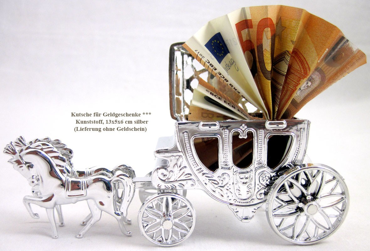 Kutsche für Geldgeschenke, Hochzeitsdekoration silber ca. 13x5x6 cm (L/B/H)