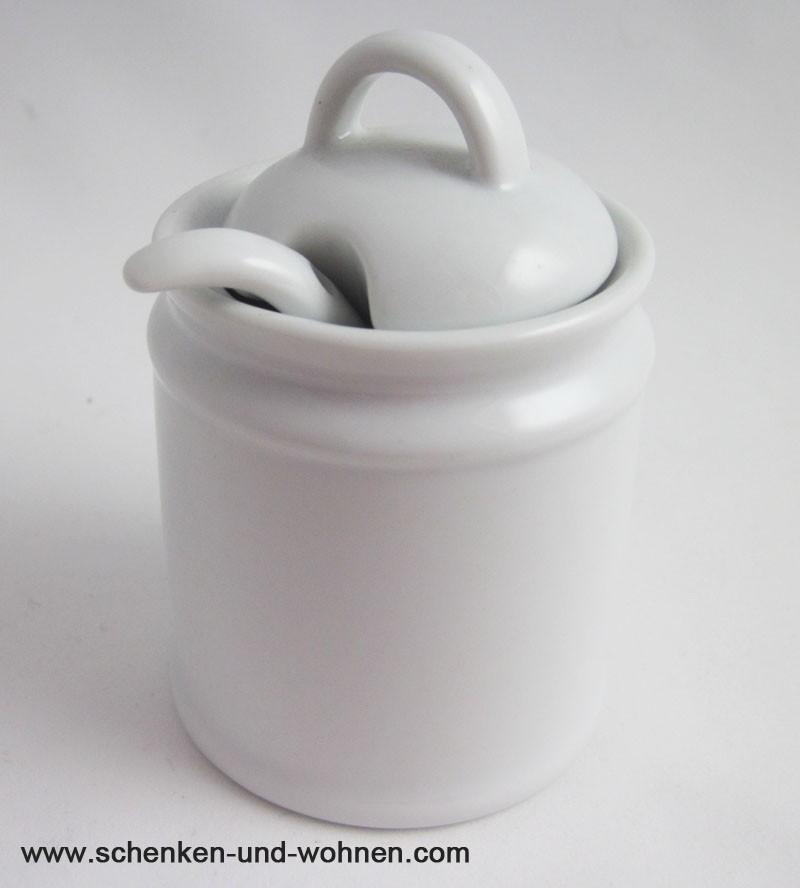 Keramikdose mit Löffel , klein