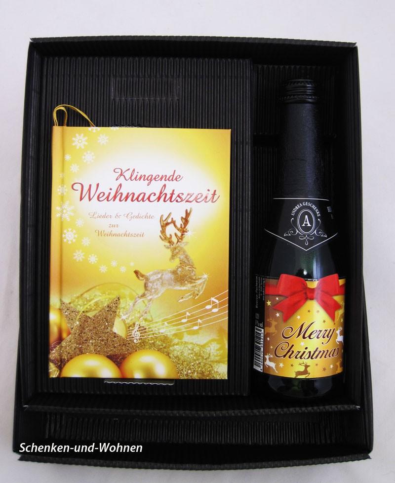 """Geschenk-Set """"Klingende Weihnachtszeit"""" mit 0,2 l Prosecco 8%vol."""