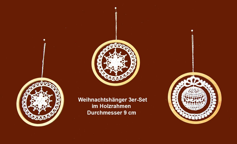Plauener Spitze - Weihnachtshänger 3er-Set im Holzrahmen - rund ca. 9 cm