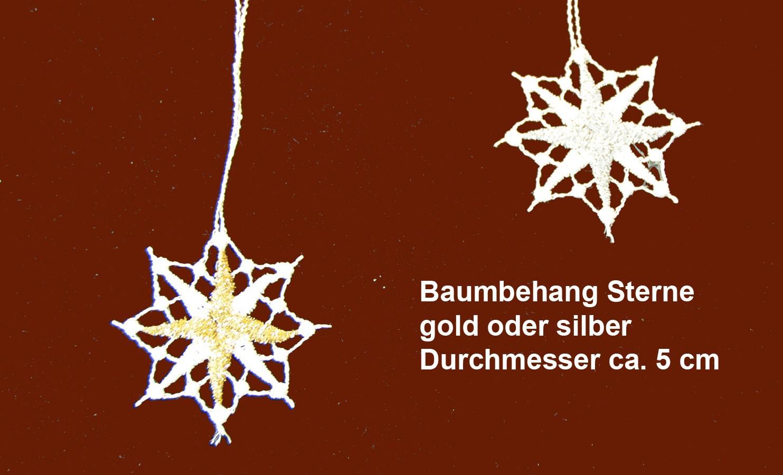Plauener Spitze - Baumbehang Stern 5 Stück ca. 5 cm mit Gold-Lurex