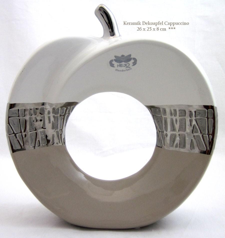 1 Keramik Deko-Apfel Cappuccino, groß mit Loch, weiß/silber, ca.26x25x8 (H/B/T)