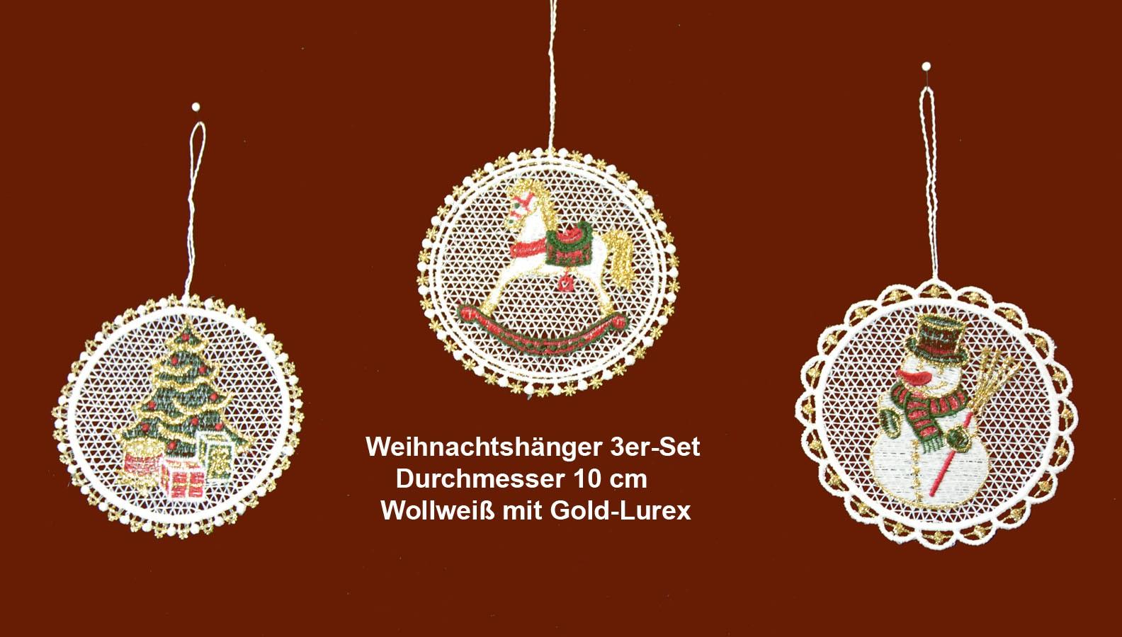 Plauener Spitze - Baumbehang 3er-Set - rund - Durchmesser ca. 10 cm