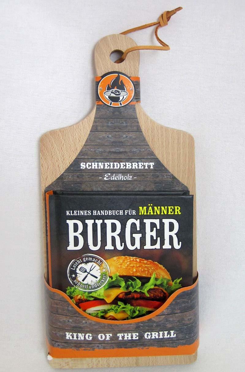 Geschenkset Burger-Mininbuch mit Schneidebrett -Edelholz- unbehandelt