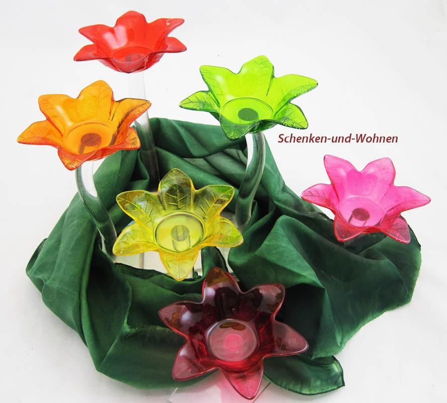 1 Glas-Teelichthalter Blume rot, ca. 20 cm hoch