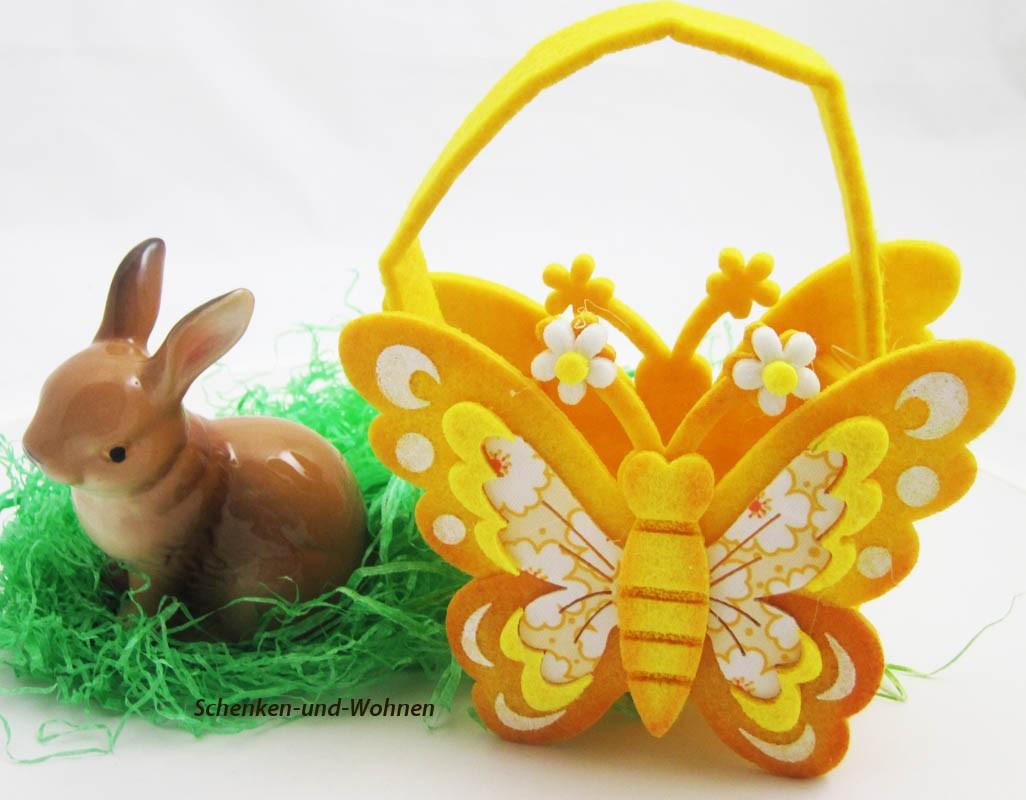 Filz-Tasche Butterfly Gelb ca. 9,5 x 6 x 12 cm