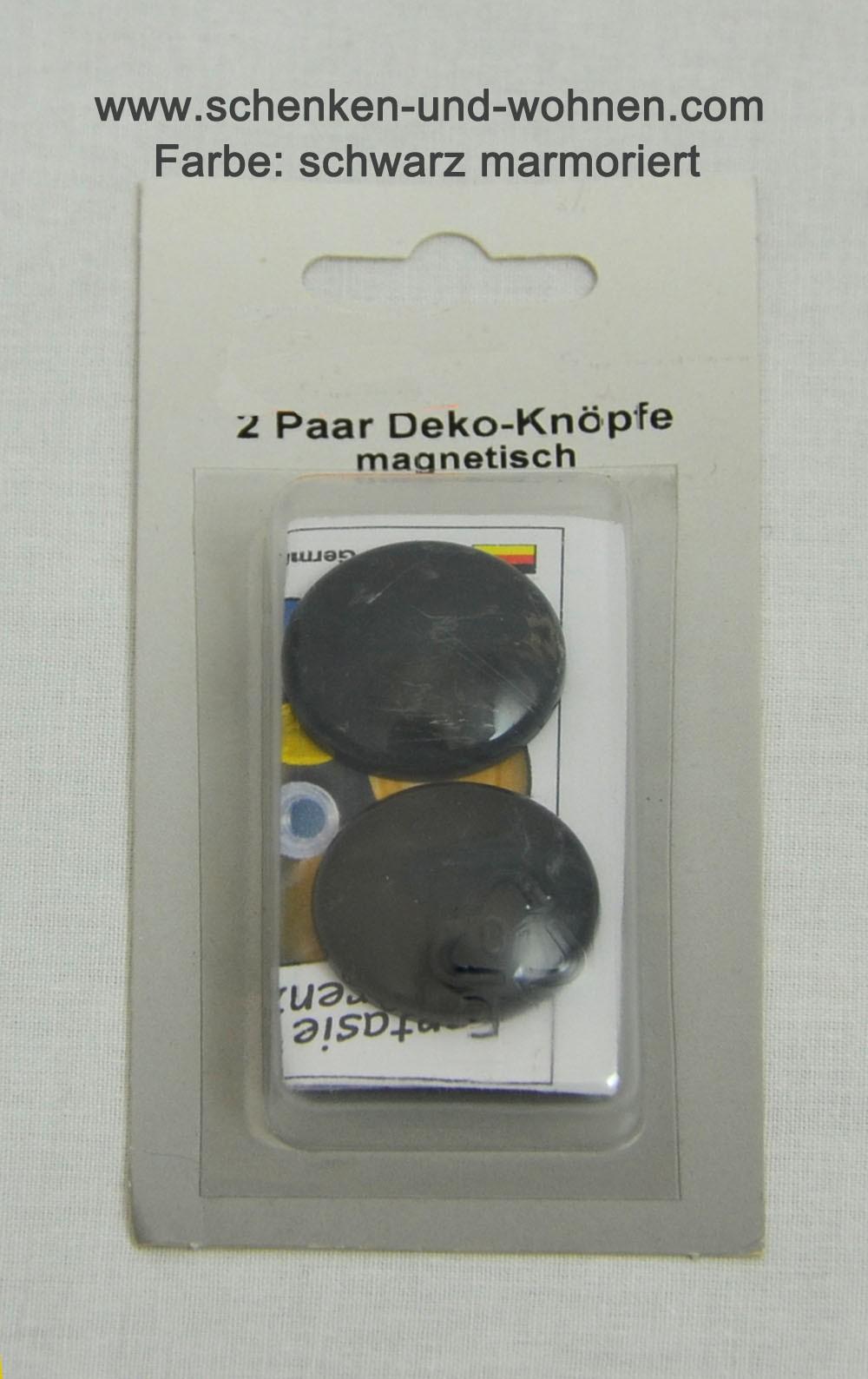 2 Paar Deko-Knöpfe magnetisch schwarz marmoriert 30 mm