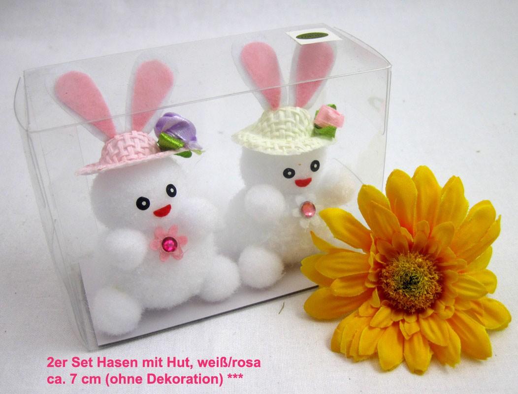 2er Set Hasen mit Hut, weiß/rosa, ca. 7 cm