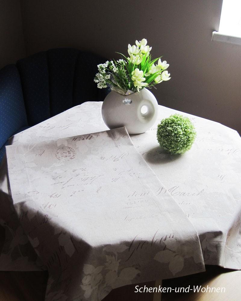 Mitteldecke - Floral - Druck, Beige, ca.85 x 85 cm