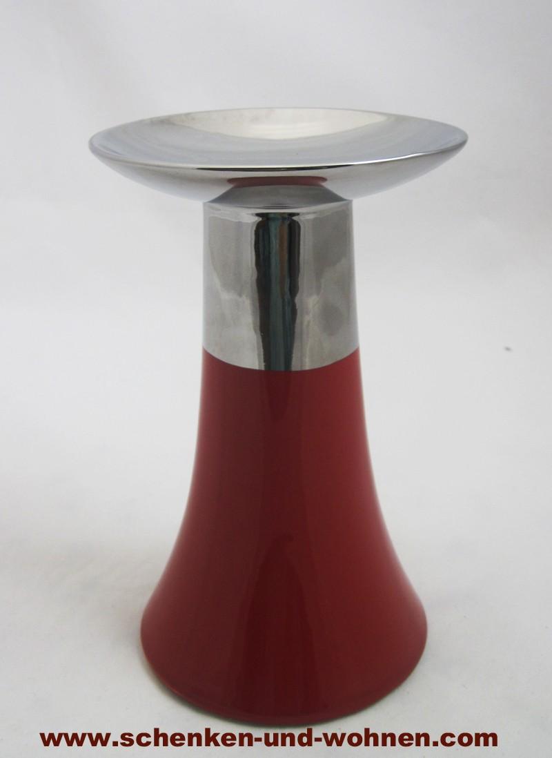 Kerzenleuchter rot/silber ca. 20 cm