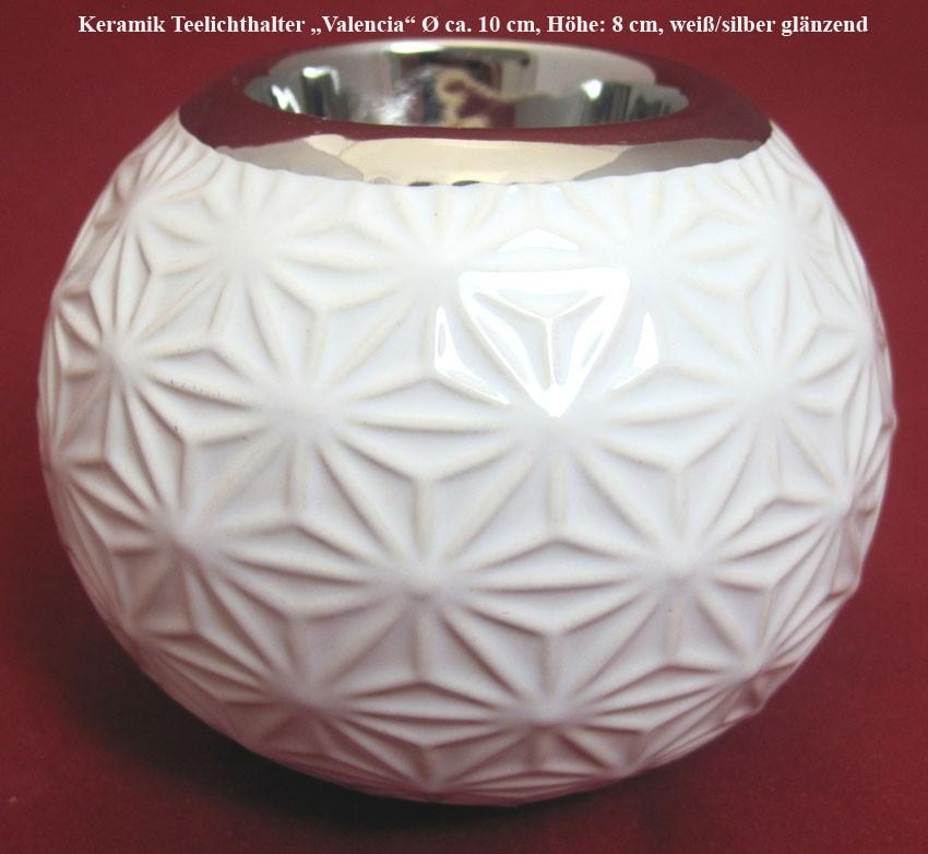 """Keramik Teelichthalter """"Valencia"""" weiß/silber glänzend, Blumenprint ca.Ø 10cm"""