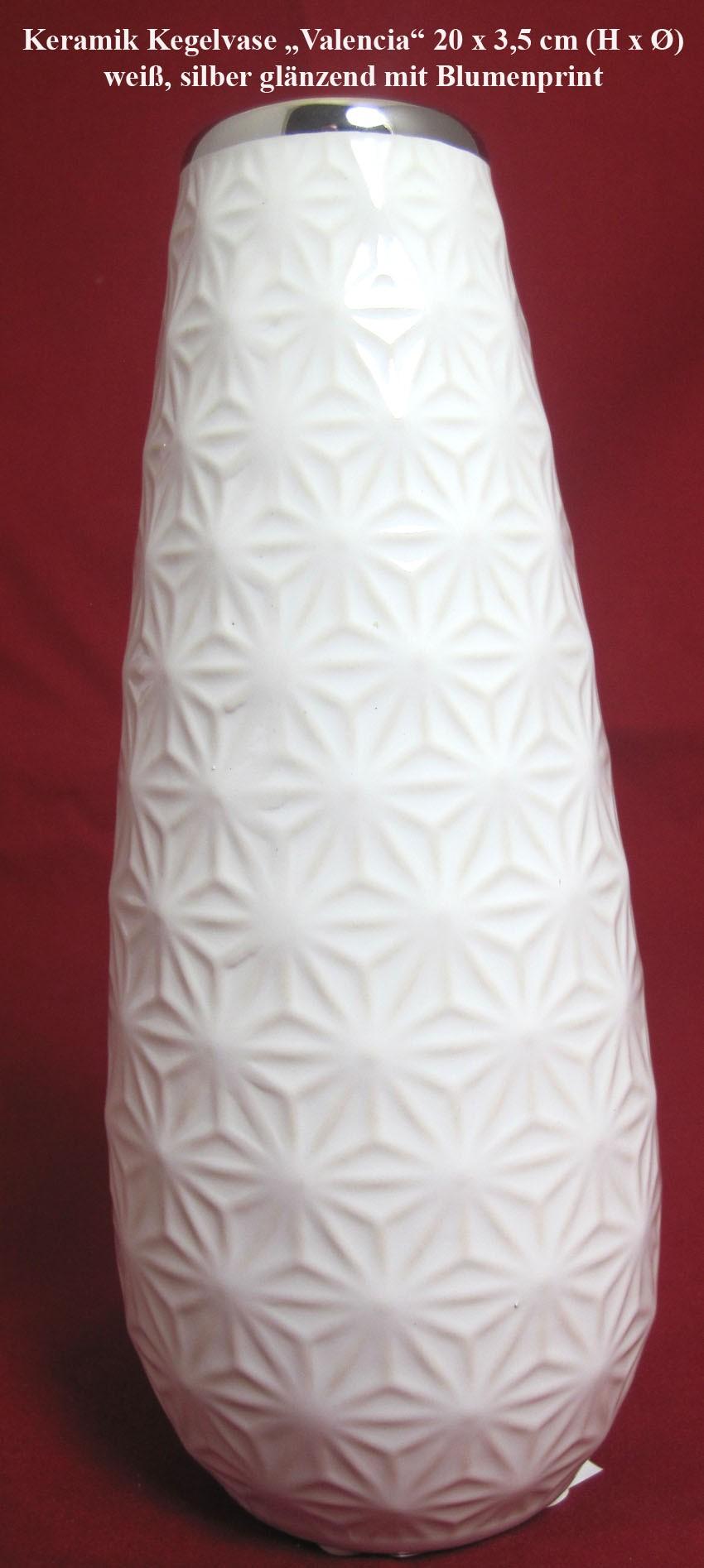 "Keramik Kegelvase ""Valencia"" weiß/silber glänzend, Blumenprint ca.20x8 cm (HxØ)"