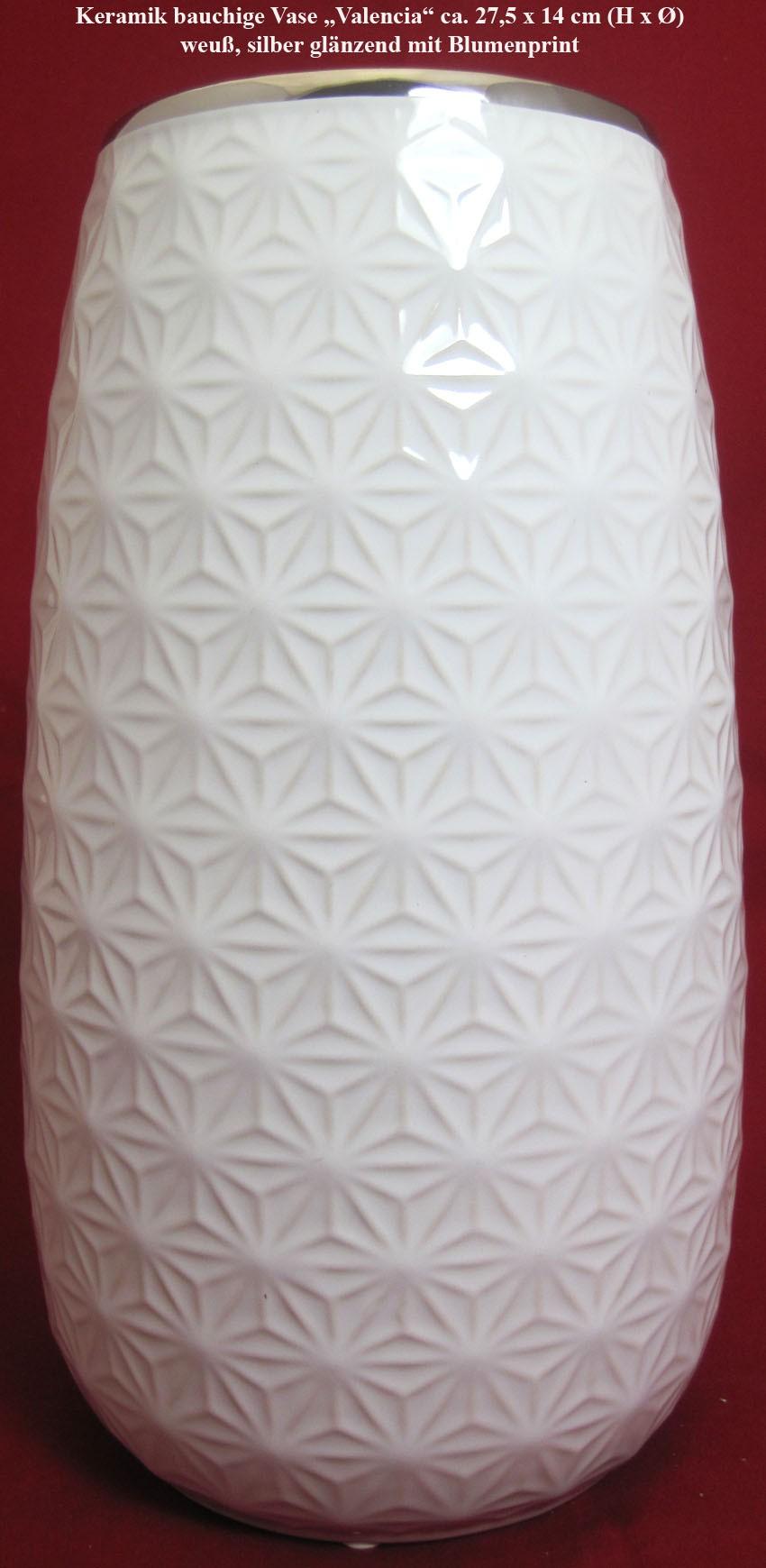 """Keramik bauchige Vase""""Valencia""""weiß/silber glänzend, Blumenprint 27x10cm (HxØ)"""