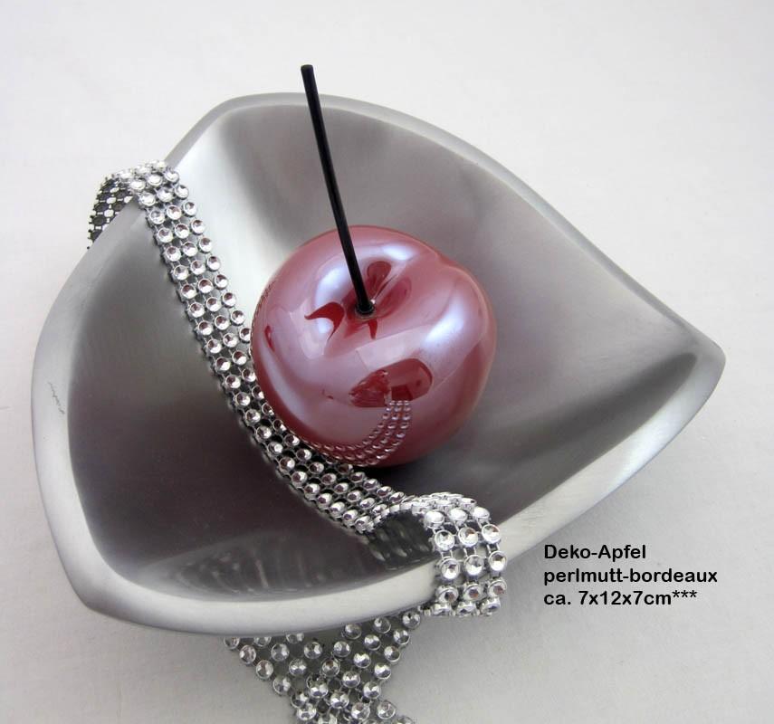 Keramik - Apfel  mit Stiel perlmutt bordeaux ca. 7x12x7 cm (B/H/T)