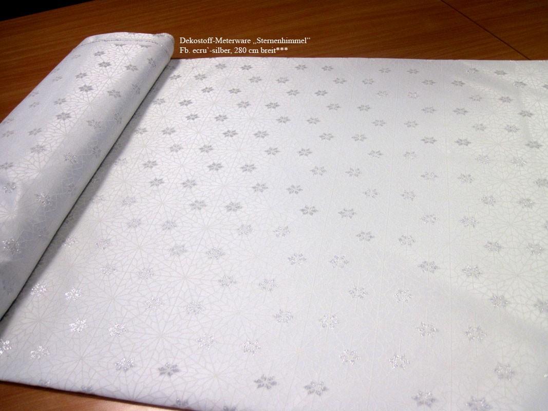 Winterlicher Dekostoff Sternenhimmel ecru`- silber,  280 cm breit Meterware