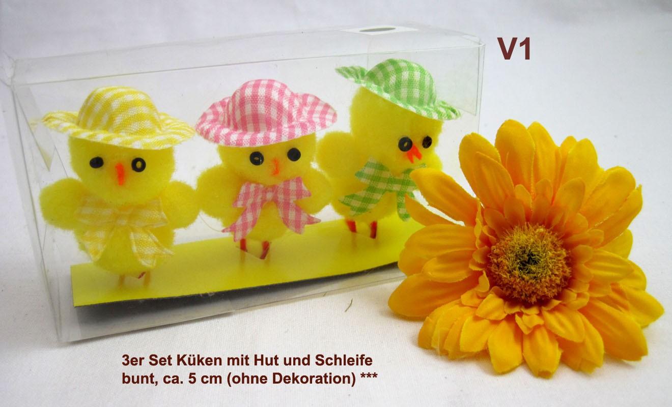 3er Set Küken mit Hut und Schleife, sortiert, bunt, ca. 5 cm
