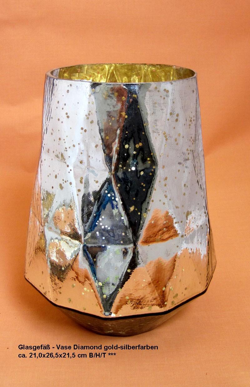 Glasgefäß - Vase Diamond gold-silberfarben ca. 21,0x26,5x21,5 cm B/H/T