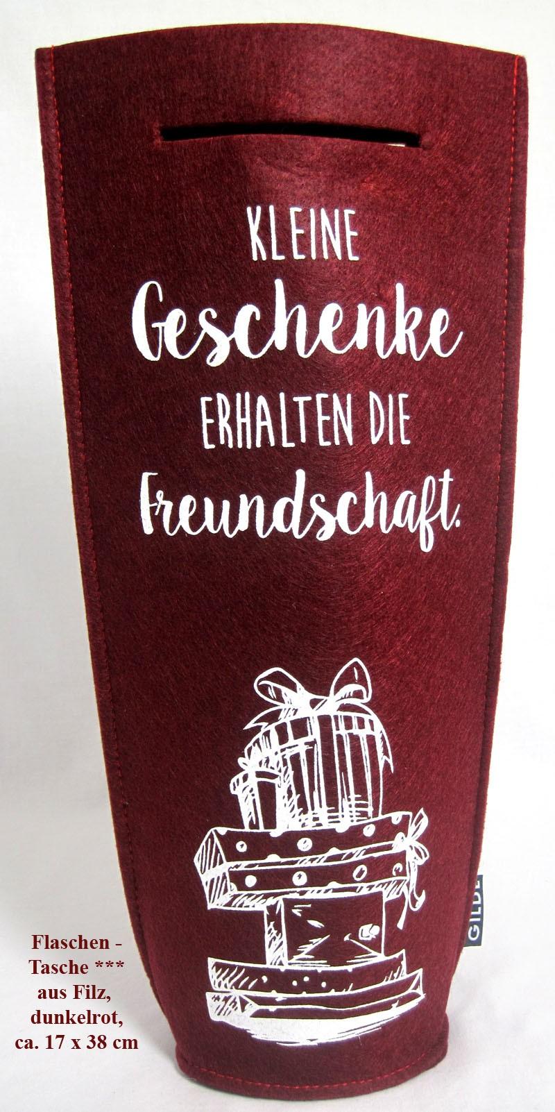 Getränke Flaschentasche aus Filz mit Griff, dunkelrot ca. 38x17 cm (HxB)