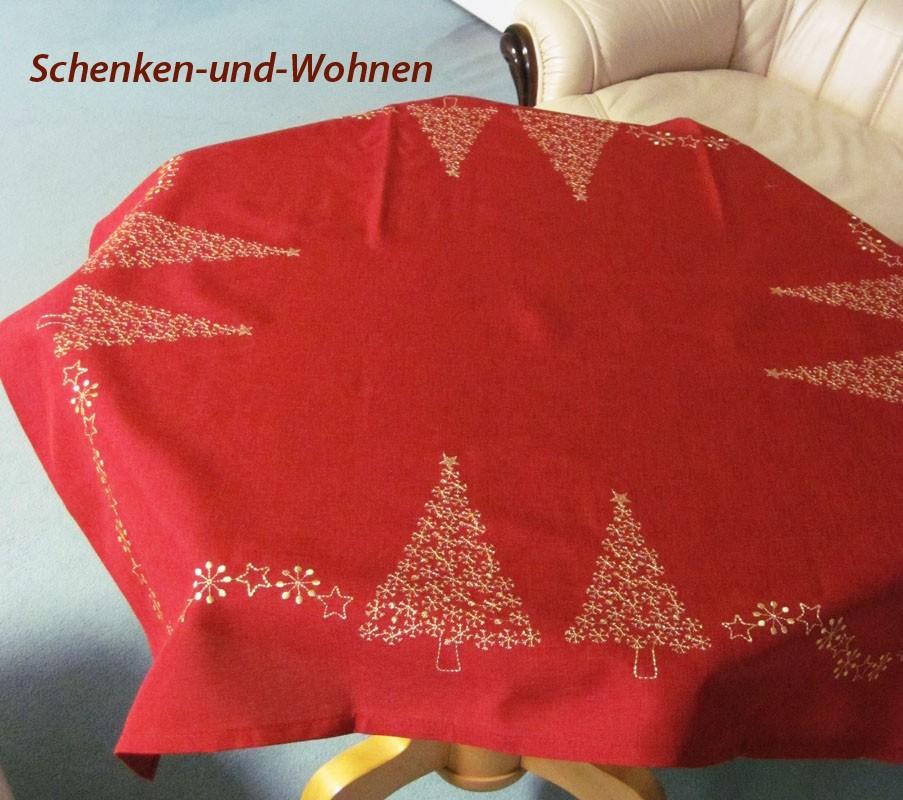"Tischdecke ""Sternenbaum"" gestickt rot/gold 85 x 85 cm"