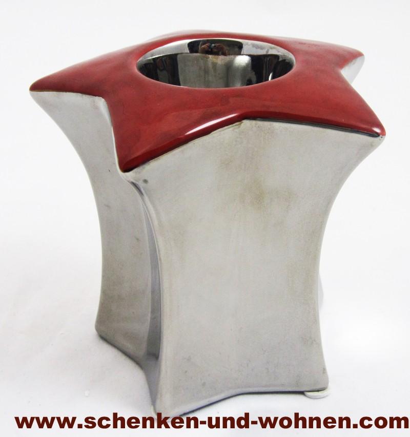Kerzenleuchter rot/silber ca. 12 x 12 cm (H/B), sternförmig