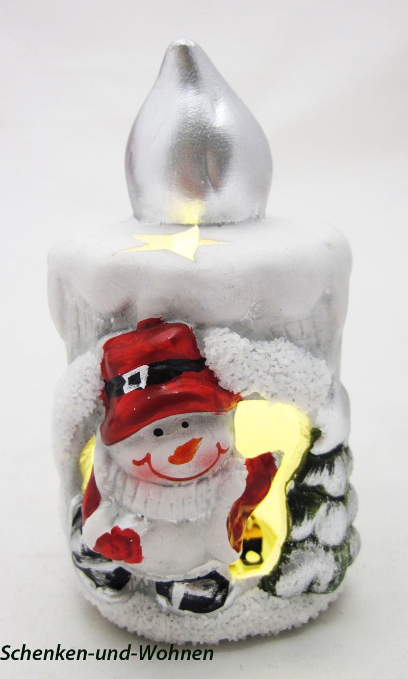 Keramik LED - Kerze mit Schneemann ca. 7 x 6,5 x 11 cm