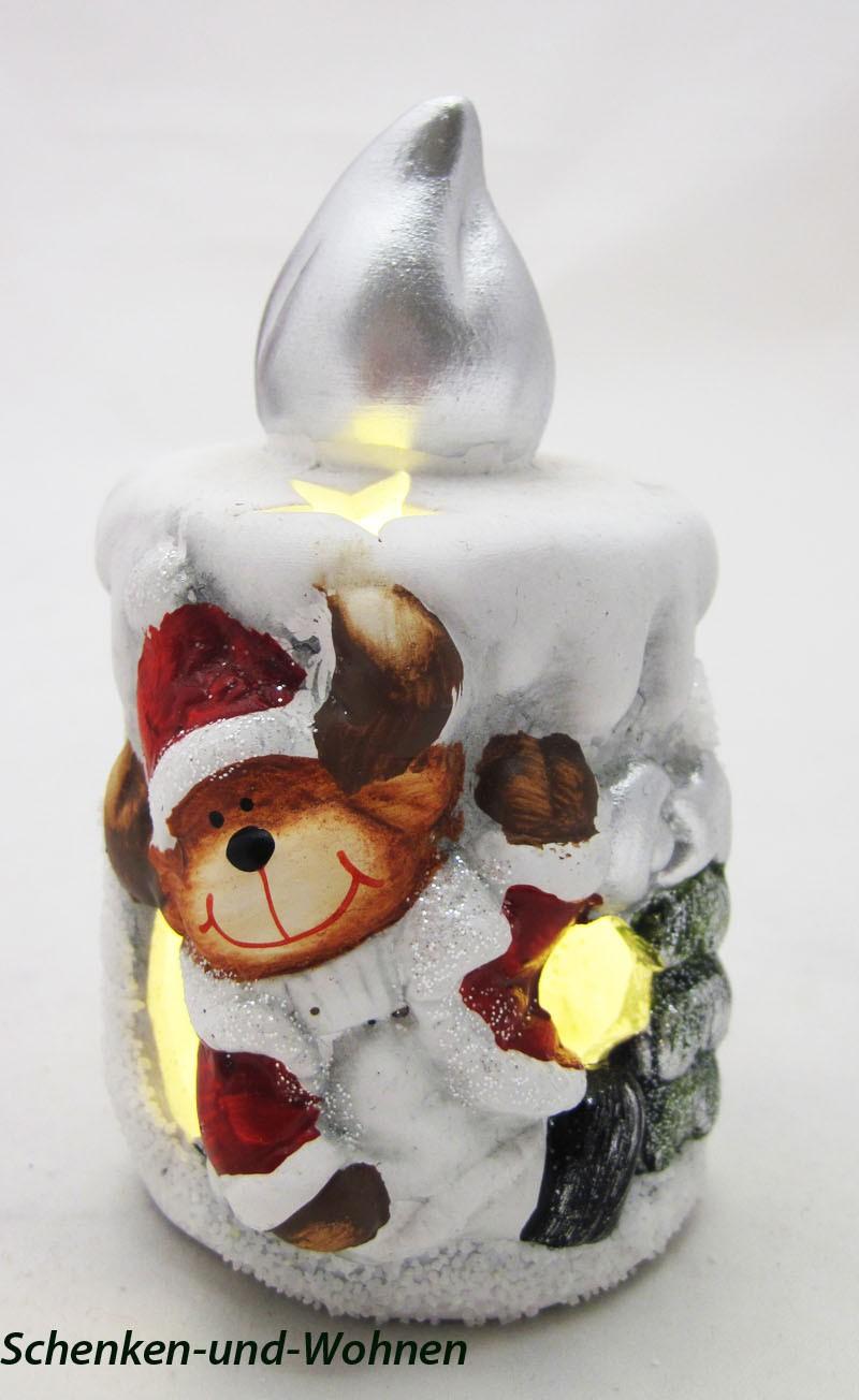 Keramik LED - Kerze mit Rentier ca. 7 x 6,5 x 11 cm