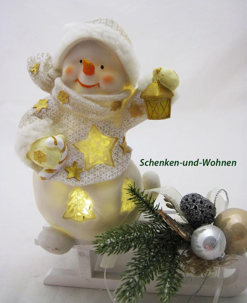Poly-Schneemann mit LED und Laterne, weiß/gold 15,5 x 10 x 20 cm