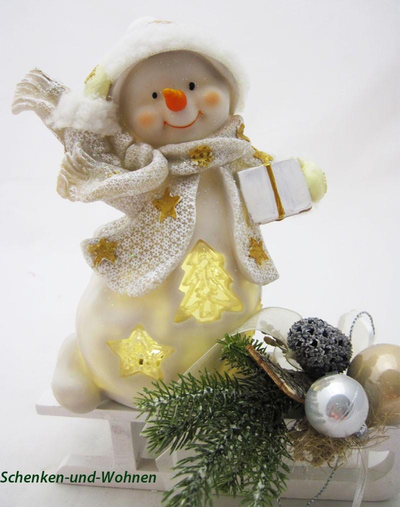 Poly-Schneemann mit LED und Geschenk, weiß/gold 15,5 x 10 x 20 cm