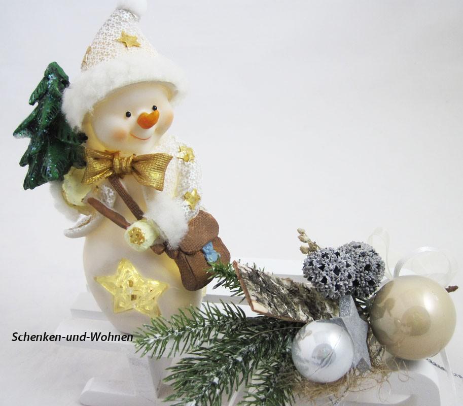 Poly-Schneemann mit LED und Baum, weiß/gold 10 x 7 x 16 cm