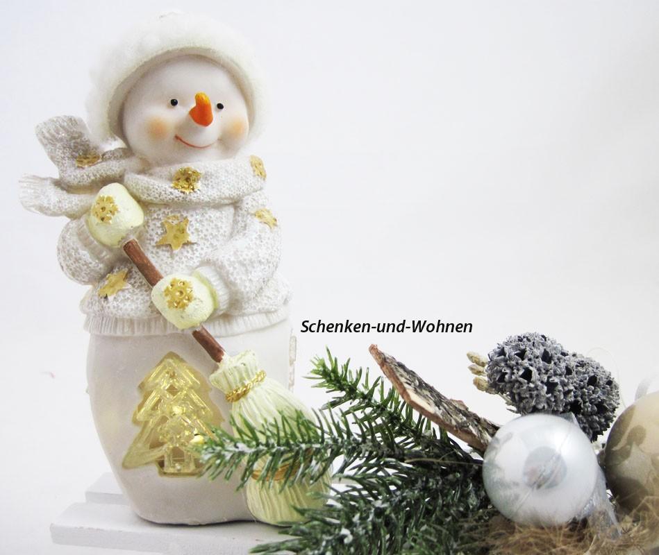 Poly-Schneemann mit LED und Besen, weiß/gold 10 x 7 x 16 cm