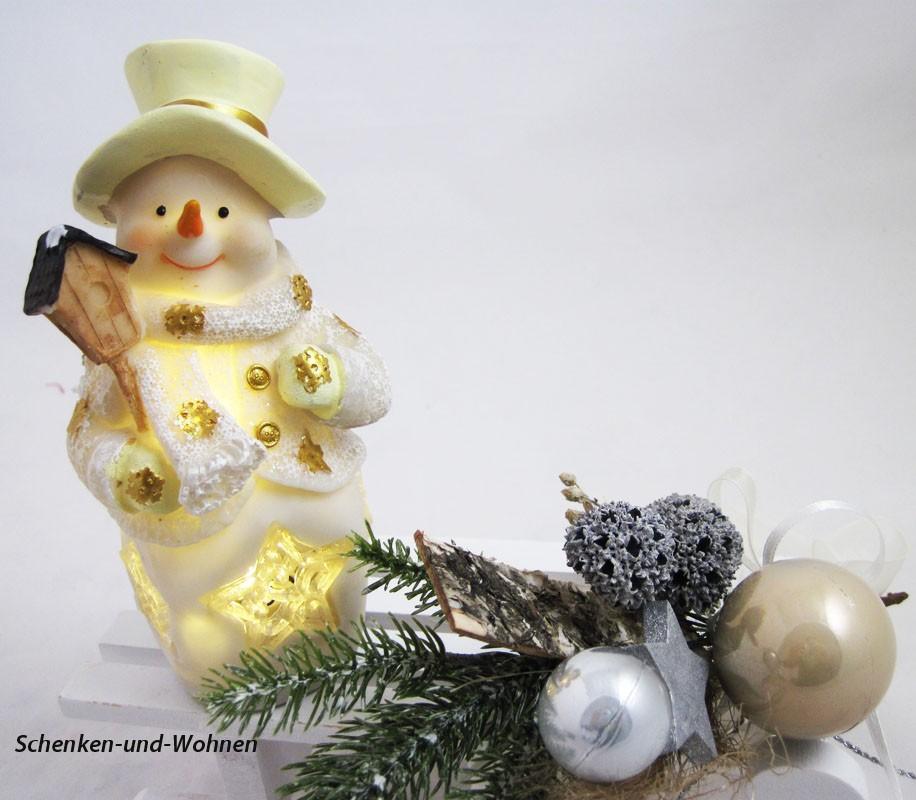 Poly-Schneemann mit LED und Vogelhaus, weiß/gold 10 x 7 x 16 cm