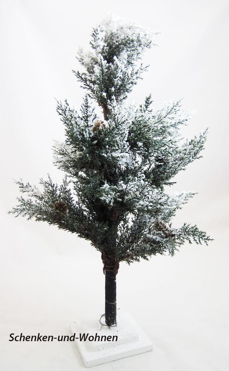 Dekorative Deko-Tanne mit kleinen Zapfen verschneit, grün-weiß ca.50 x 100 cm
