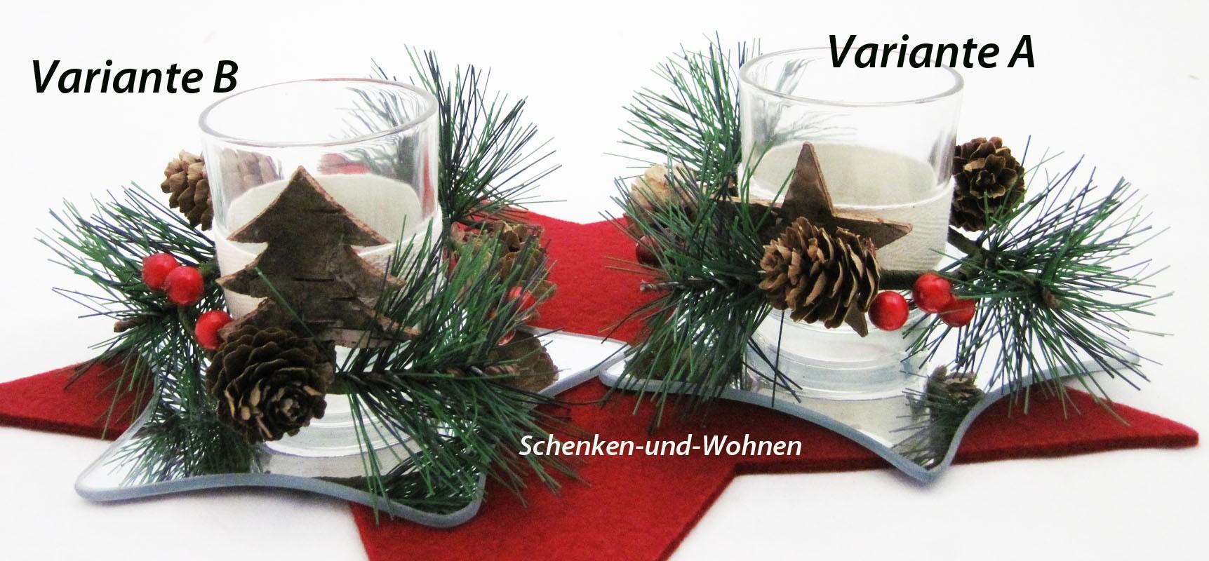 Teelichthalter mit Zapfen und Ilexdekor 2-fach sortiert ca. 14 x 14 x 7 cm
