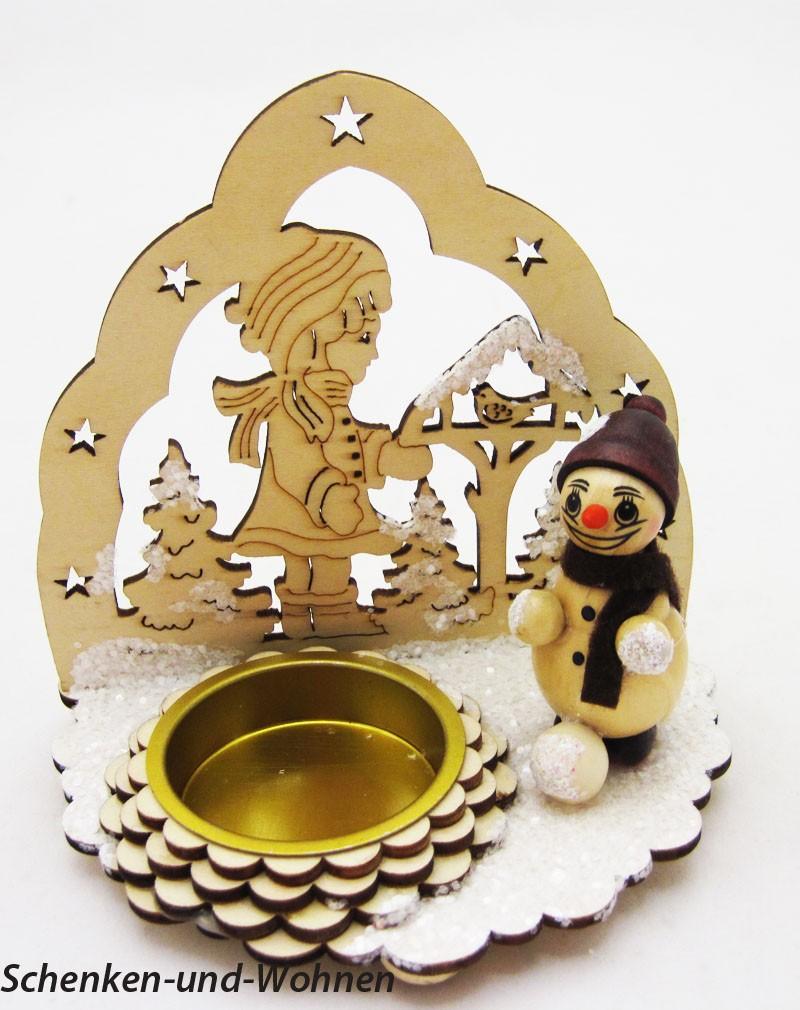 """Laserholz-Teelichthalter verschneit """" Kinder """" Motiv C ca. 11 x 7,5 x 11 cm"""