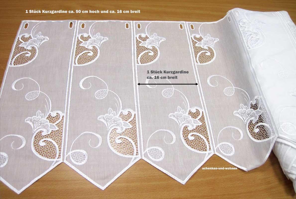 1 Stück Kurzgardine ca. 16 cm breit - Panneaux mit Stickerei, weiß ca. 50 cm