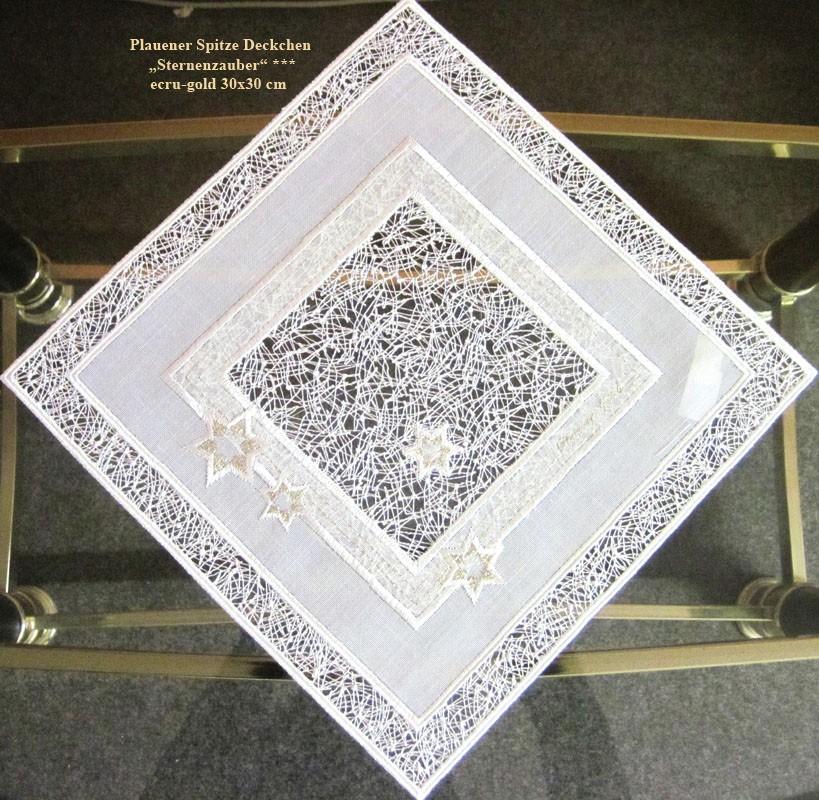 """Plauener Spitze Deckchen """"Sternenzauber"""" Stickerei ecru-gold 30 x 30 cm"""