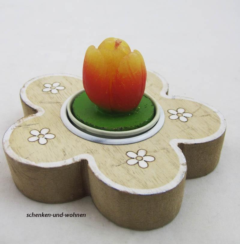 Holz-Teelichthalter Blume natur-weiß, ca. 10 x 10 x 2 cm