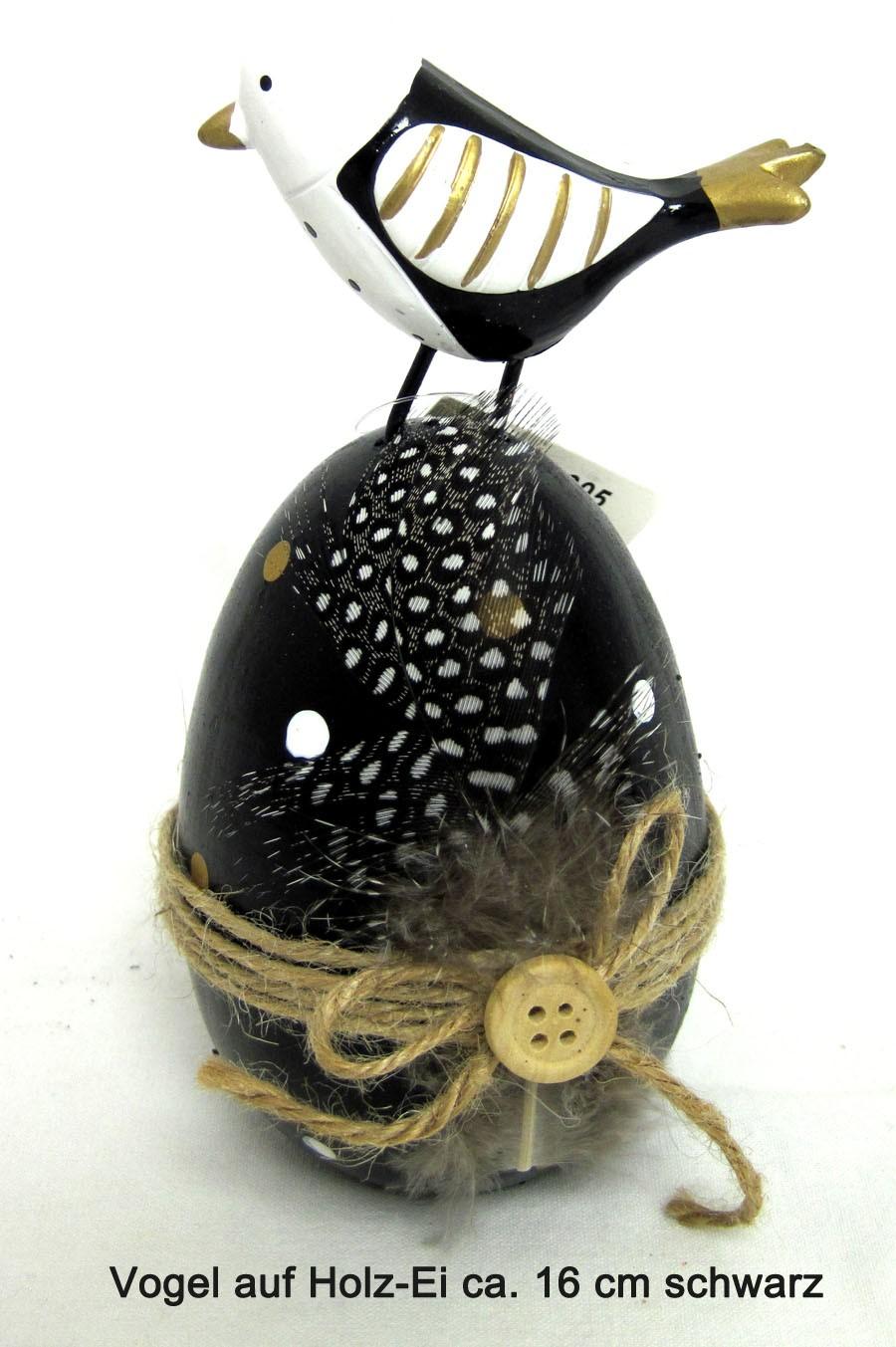 Vogel auf Holz-Ei schwarz 16x8 cm (HxB)