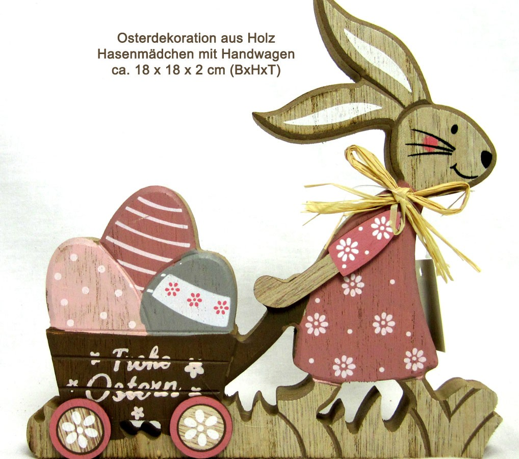 Osterdekoration aus Holz Hasenmädchen mit Handwagen ca. 18x18x2 cm (BxHxT)