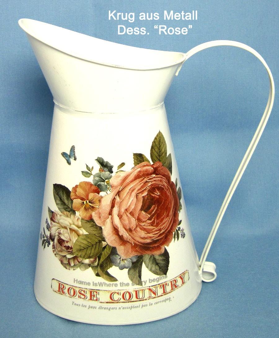 Krug  Dess. Rose 25 cm aus Metall im Vintage-Stil